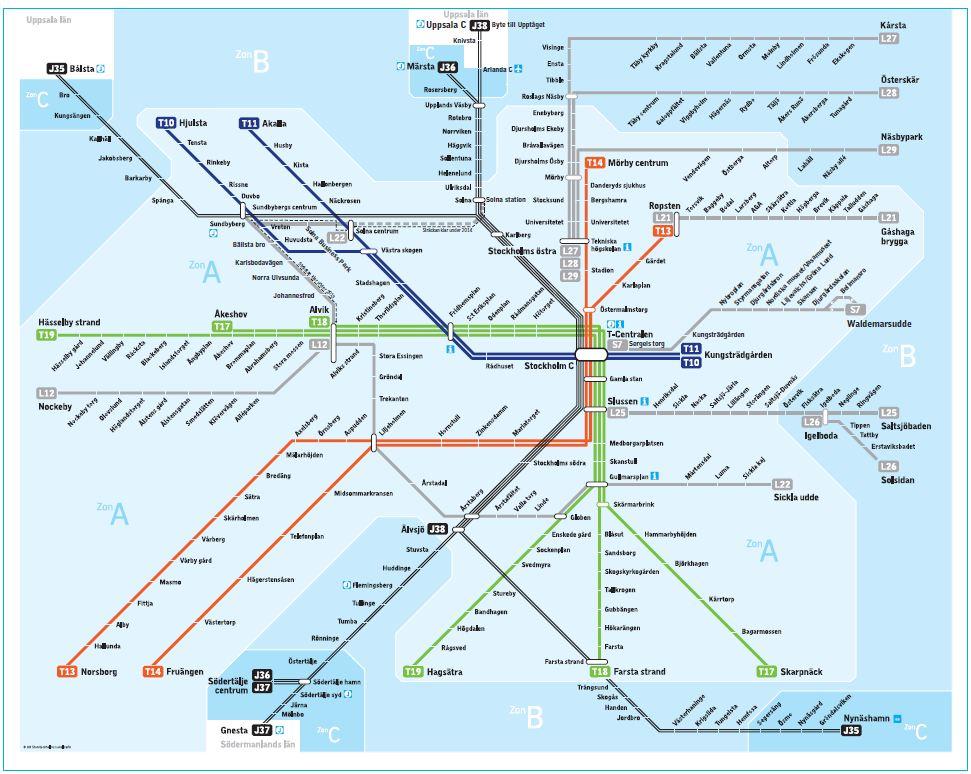 sl pendeltåg karta stockholm SL spårtrafik | Kentor BI sl pendeltåg karta stockholm